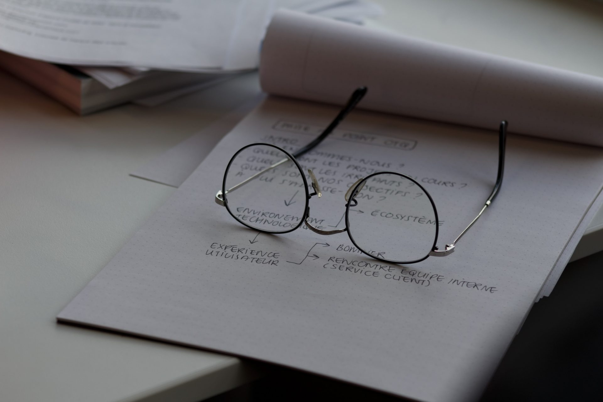 image of spectacles on a mindmap to support content about paralegal qualifications